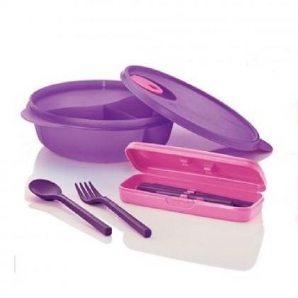 Tupperware Crystalwave Divided Dish & Cutlery Set