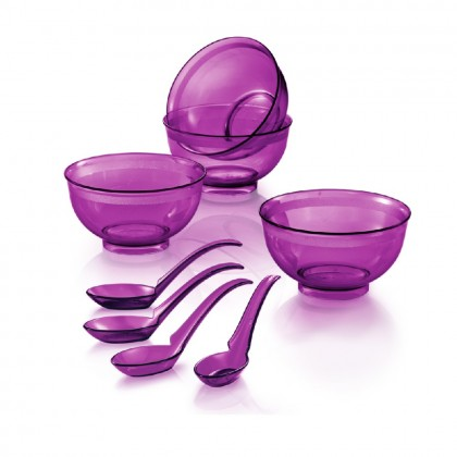 Tupperware Purple Royale Crystalline Bowl With Spoon (4) 250ml
