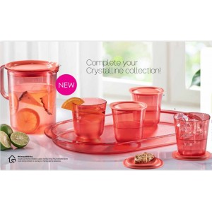 Tupperware Coral Blooms Crystalline Drinking Set + Serving Tray