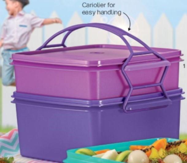 Tupperware Jumbo Goody Box with Cariolier -Purple