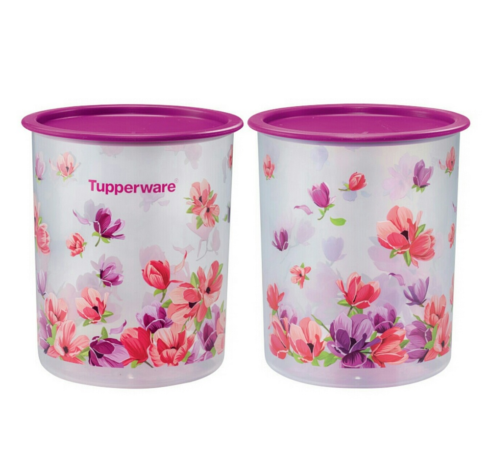 Tupperware Garden Blooms One Touch Canister Small (2) 2L