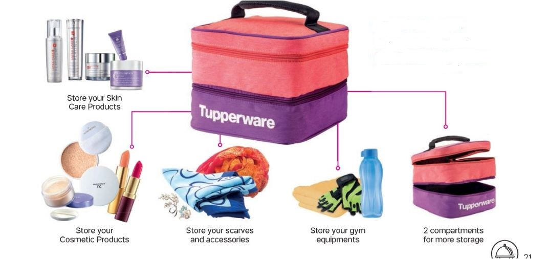 Tupperware Crystalwave Divided Dish & Cutlery Set + Double Decker Pouch
